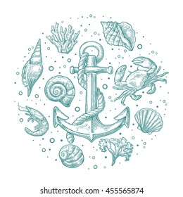 Set sea underwater animal and anchor isolated on white background. Vector hand drawn engraving vintage illustrations
