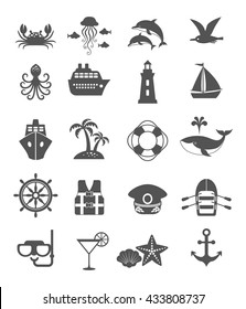 Set of sea vacation black icons. Summer adventure emblem. Nautical design icons isolated on white background