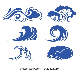 Set of sea waves. Collection of stylized waves for the logo. Vector illustration for travel agencies.