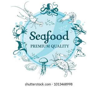 Set with Seafood. Isolated on white background. Seafood Company Vector Logo Design Template. Ocean Delicacies collection. Vector seafood logo.