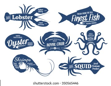Set of seafood logo templates. Sea animals silhouettes collection