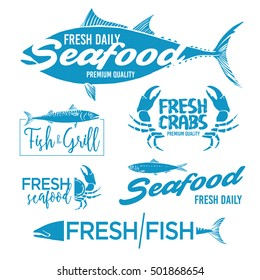Set of seafood logos. Grill, crab, restaurant logo collection made in vector. Seafood badges, labels and design elements.