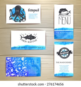Set of seafood menu cards. Corporate identity. Document template