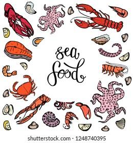 A set of seafood, restaurant design, menu design, fish, clams, oysters, lobster, langoustine, crab, shrimp, mussels. Illustration, lettering, vector