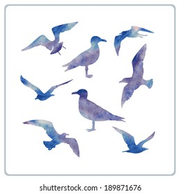 set of seagulls silhouettes