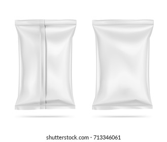 Set of sealed food snack pillow bags on white background. Realictic vector illustration. Can be use for template your design, promo, adv.
