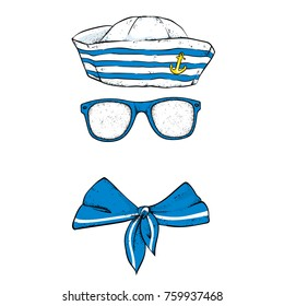 A set of seaman's clothes. Vector illustration. Clothes and accessories. A sailor in a cap, glasses and a tie.