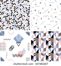 Set of seamless abstract geometric patterns in trendy pantone colors of 2016