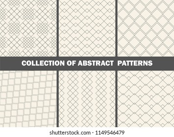 Set of seamless abstract geometrical patterns/ Collection of monochrome patterns