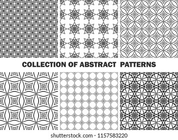 Set of seamless abstract patterns/ Collection of black and white patterns
