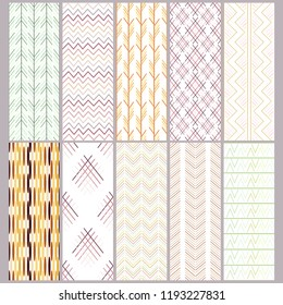 set of seamless abstract patterns, vector geometric decor, ornaments and motifs of all nations