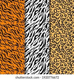 Set of seamless animal print pattern collection