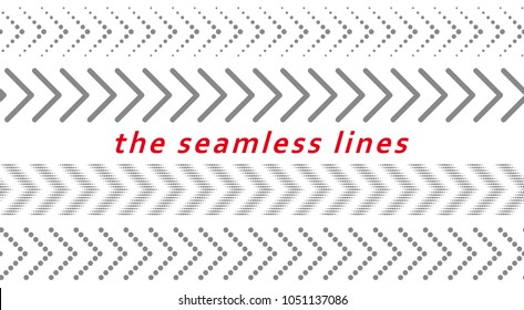 Set of seamless arrow lines. Dotted elements for graphic design. Abstract vector geometric background.