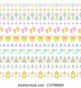 Set of seamless baby ribbons