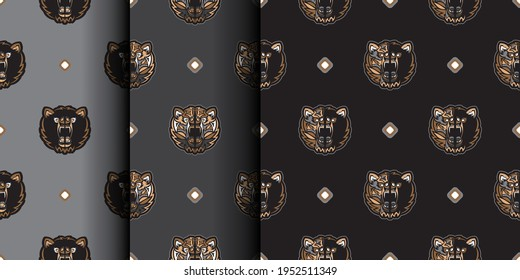 Set Seamless background with BEAR FACE. Suitable for backgrounds, prints, clothing and textiles. Vector illustration.