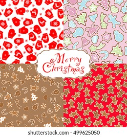 Set seamless background gingerbread and mitten