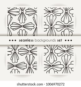 Set of seamless backgrounds, vector patterns with floral made of simple doodles. Cartoon flowers