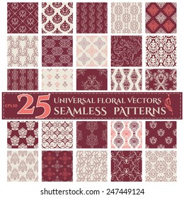 Set of Seamless Backgrounds with Vintage Calligraphic Floral Patterns. Vector illustration
