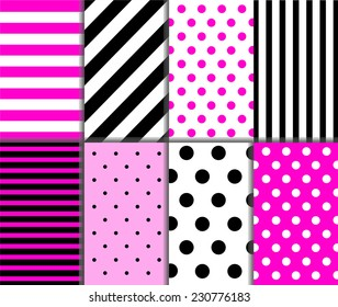 Set of seamless big and small polka dots, lined textile with large and small lines and diagonal stripes in deep and light pink, black and white color. Vector art image illustration background pattern