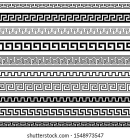 Set of seamless black and white meander vector borders