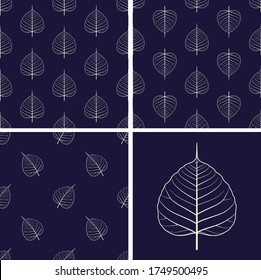 set of seamless  Bodhi  leaf pattern with geometric shapes for Fabric ,Tile ,Carpet ,Wallpaper ,Pottery pattern,Graphic resources