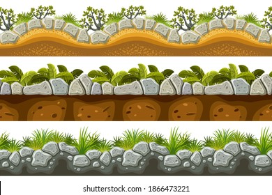 Set of seamless border old gray rock and grass. Vector stone sidewalks with leaves for computer games isolated on white background.