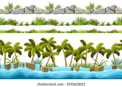 Set of seamless border old gray rock, waterfall and grass. Vector stone sidewalks with palm trees for computer games isolated on white background.