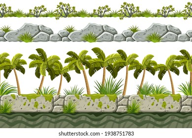 Set of seamless border old gray rock and grass. Vector stone sidewalks with palm trees for computer games isolated on white background.