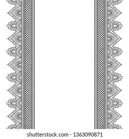 Set of seamless border ornament for design, Henna drawing, Mehndi and tattoo. Decorative pattern in ethnic oriental, Indian style.