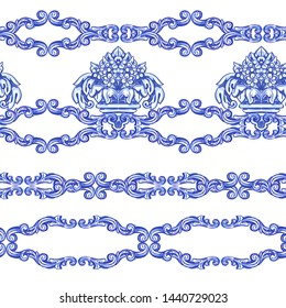 Set of seamless borders Azulejos - Portuguese Dutch and oriental tile in shades of blue and yellow colors pattern. Baroque Vector mosaic. Rococo ornament