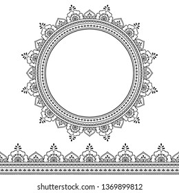 Set of seamless borders and circular ornament in form of frame for design, application of henna, Mehndi, tattoo and print. Decorative pattern in ethnic oriental style.