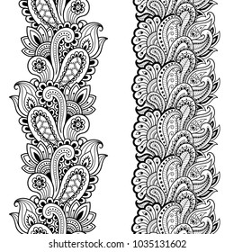 Set of seamless borders for design, application of henna, Mehndi and tattoo. Decorative pattern in ethnic oriental style.