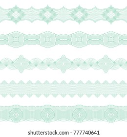 Set of seamless borders of elements guilloche. Pattern Brush.Vector illustration for scenery of documents.