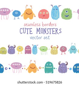 Set of seamless borders with hand drawn monster icons. Vector doodle illustration. Gorgeous clip art for design.