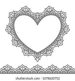 Set of seamless borders and heart for design, application of henna, Mehndi and tattoo. Decorative pattern in ethnic oriental style.