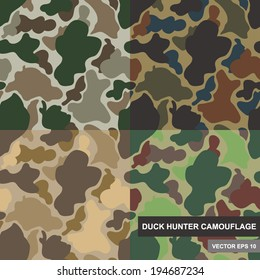 Set of seamless camouflage pattern. Duck hunter camouflage pattern. Various scheme of camouflage pattern.