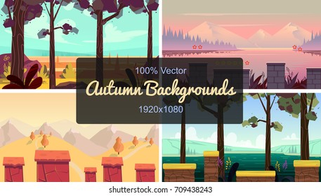 set of seamless cartoon autumn landscape, simple horizontal game locations, size 1920x1080
