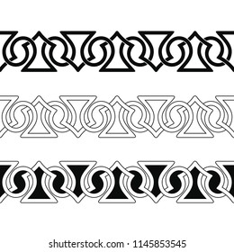 Set of Seamless Celtic national ornament interlaced ribbon isolated on white background. Element for graphic design.