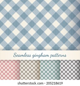 Set of seamless checkered backgrounds. Gingham patterns. Eps 10 vector illustration