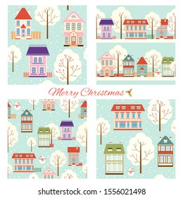 Set of seamless Christmas patterns with cute houses in retro style. Endless texture can be used for wallpaper, pattern fills, web page background, surface textures. EPS8