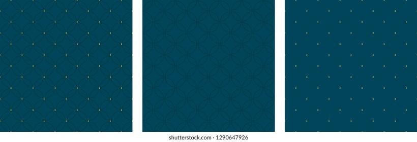 Set of seamless circular patterns eighties fashion design. Minimal geometric all over oriental dot diamond motif. Simple monochrome heather grey print block for menswear, fabric, textile accessories.
