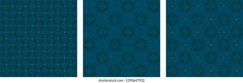 Set of seamless circular patterns seventies fashion design. Minimal geometric all over oriental dot diamond motif. Simple monochrome heather grey print block for menswear, fabric, textile accessories.