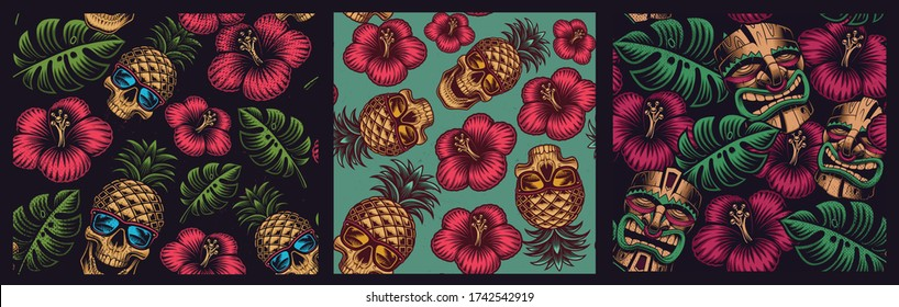 Set of seamless coloured patterns in Hawaiian style with skull pineapple, tiki mask.