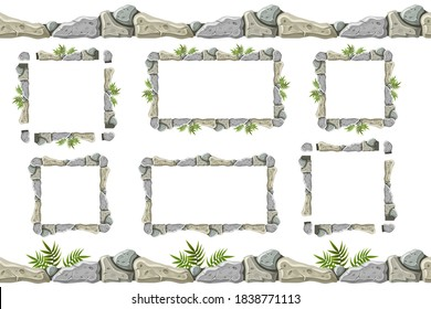 Set of seamless constructor old gray rock border and frames. Vector stone sidewalks with grass for computer games isolated on white background.