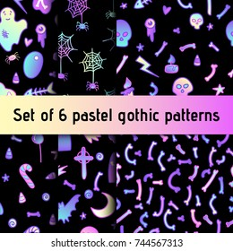 Set of seamless cute patterns in pastel colors. Vector illustration in 80s, pastel goth style. Great for Halloween party banners and flyers, greeting and invitation cards, baby or bridal shower.