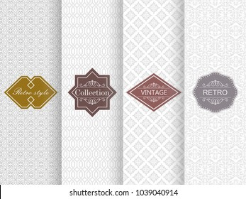 Set of seamless damask pattern in light gray. Vector illustration vintage design. Abstract seamless retro patterns with frames