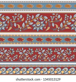 Set of seamless decorative flower borders. Indian style. Oriental ornament. Kalamkari. Vector illustration.