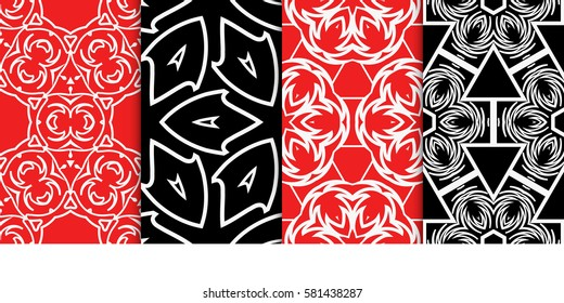 set of Seamless decorative geometric floral pattern. vector illustration. For interior design, wallpaper, decoration print, fill pages, fabric, decor, print