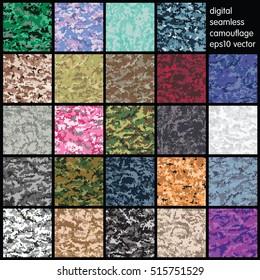 Satz nahtloser digitaler Camouflage-Muster, Vektorgrafik