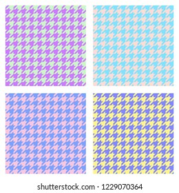 Set of seamless duotone textile patterns. Chekered ornament houndstooth, hounds tooth check, hound's tooth, dogstooth, dogtooth, dog's tooth or pied-de-poule